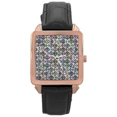 Peace Pattern Rose Gold Leather Watch