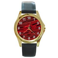 Alien Sine Pattern Round Gold Metal Watch