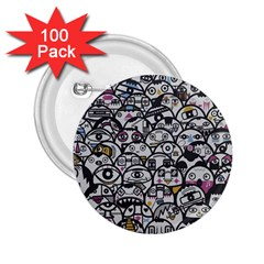 Alien Crowd Pattern 2.25  Buttons (100 pack)