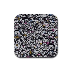 Alien Crowd Pattern Rubber Square Coaster (4 pack)