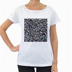Alien Crowd Pattern Women s Loose Fit T Shirt (white)