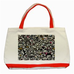 Alien Crowd Pattern Classic Tote Bag (red)