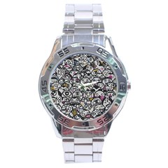 Alien Crowd Pattern Stainless Steel Analogue Watch