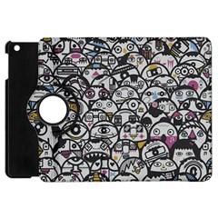 Alien Crowd Pattern Apple Ipad Mini Flip 360 Case