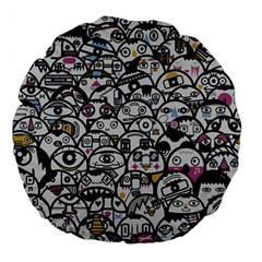 Alien Crowd Pattern Large 18  Premium Round Cushions