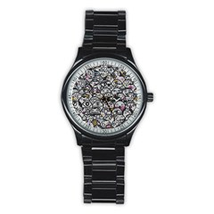 Alien Crowd Pattern Stainless Steel Round Watch