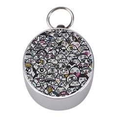 Alien Crowd Pattern Mini Silver Compasses