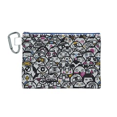 Alien Crowd Pattern Canvas Cosmetic Bag (M)