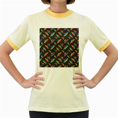 Alien Patterns Vector Graphic Women s Fitted Ringer T Shirts