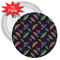 Alien Patterns Vector Graphic 3  Buttons (10 pack)