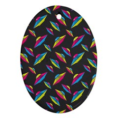 Alien Patterns Vector Graphic Oval Ornament (Two Sides)