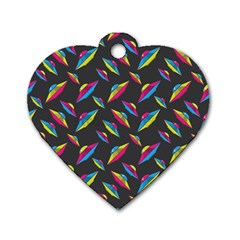 Alien Patterns Vector Graphic Dog Tag Heart (one Side)