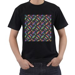 Alien Patterns Vector Graphic Men s T-Shirt (Black)