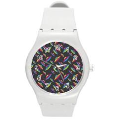 Alien Patterns Vector Graphic Round Plastic Sport Watch (m)