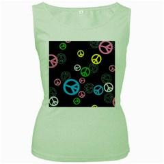 Peace & Love Pattern Women s Green Tank Top