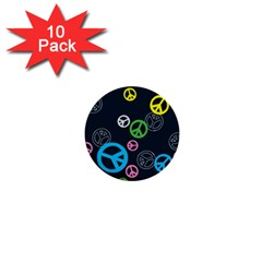 Peace & Love Pattern 1  Mini Buttons (10 pack)