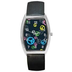Peace & Love Pattern Barrel Style Metal Watch