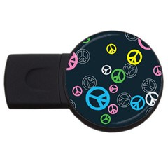 Peace & Love Pattern USB Flash Drive Round (4 GB)