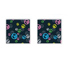 Peace & Love Pattern Cufflinks (Square)