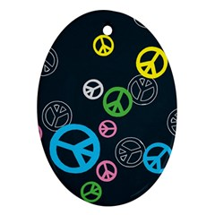 Peace & Love Pattern Oval Ornament (Two Sides)