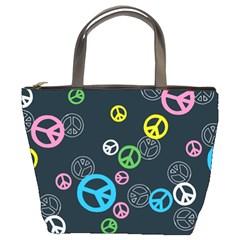Peace & Love Pattern Bucket Bags