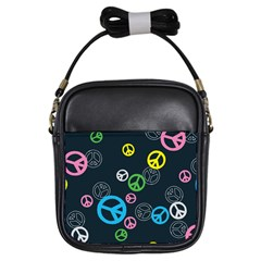 Peace & Love Pattern Girls Sling Bags