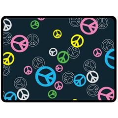 Peace & Love Pattern Fleece Blanket (large)