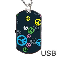 Peace & Love Pattern Dog Tag Usb Flash (two Sides)