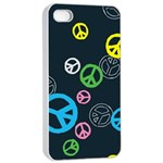 Peace & Love Pattern Apple iPhone 4/4s Seamless Case (White) Front