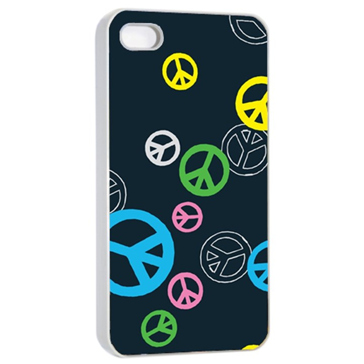 Peace & Love Pattern Apple iPhone 4/4s Seamless Case (White)