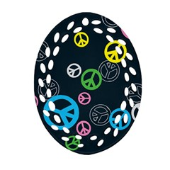 Peace & Love Pattern Oval Filigree Ornament (two Sides)