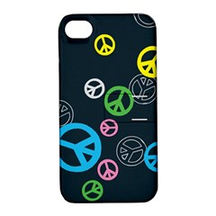 Peace & Love Pattern Apple iPhone 4/4S Hardshell Case with Stand