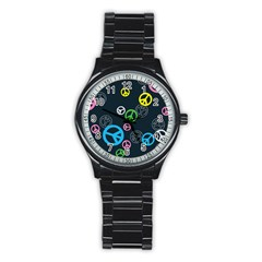 Peace & Love Pattern Stainless Steel Round Watch