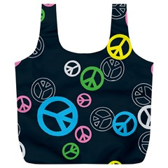 Peace & Love Pattern Full Print Recycle Bags (L)