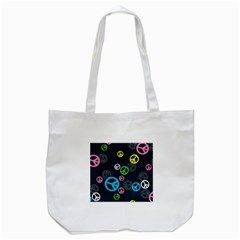 Peace & Love Pattern Tote Bag (white)