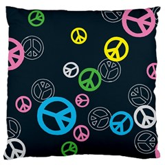 Peace & Love Pattern Large Flano Cushion Case (Two Sides)
