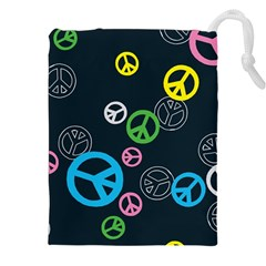 Peace & Love Pattern Drawstring Pouches (XXL)