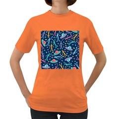 Alien Pattern Blue Women s Dark T-Shirt