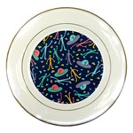 Alien Pattern Blue Porcelain Plates Front