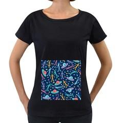 Alien Pattern Blue Women s Loose Fit T Shirt (black)