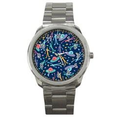 Alien Pattern Blue Sport Metal Watch