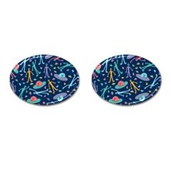 Alien Pattern Blue Cufflinks (Oval)