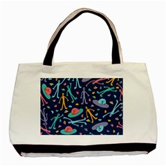 Alien Pattern Blue Basic Tote Bag