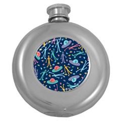 Alien Pattern Blue Round Hip Flask (5 Oz)