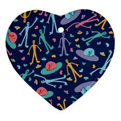 Alien Pattern Blue Heart Ornament (Two Sides)