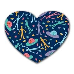 Alien Pattern Blue Heart Mousepads