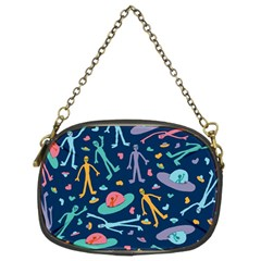 Alien Pattern Blue Chain Purses (two Sides)