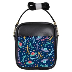 Alien Pattern Blue Girls Sling Bags