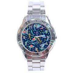 Alien Pattern Blue Stainless Steel Analogue Watch