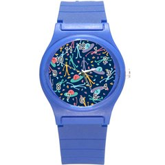 Alien Pattern Blue Round Plastic Sport Watch (s)